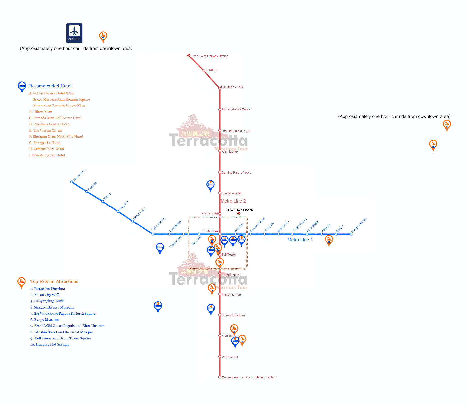 Xian Map Map of Xian Subway with Major Attractions and Hotels – Xian Tourist Map